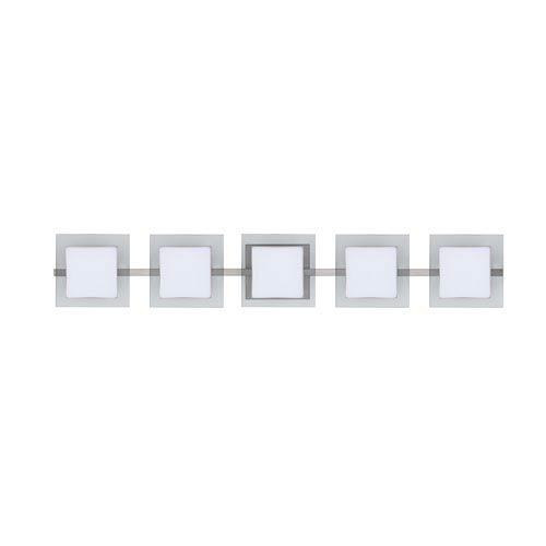 WS Opal/Clear Flat Nickel Five-Light Bath Fixture