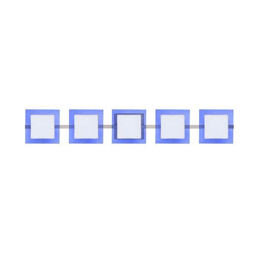 Besa Lighting WS Opal/Blue Nickel Five-Light Bath Fixture