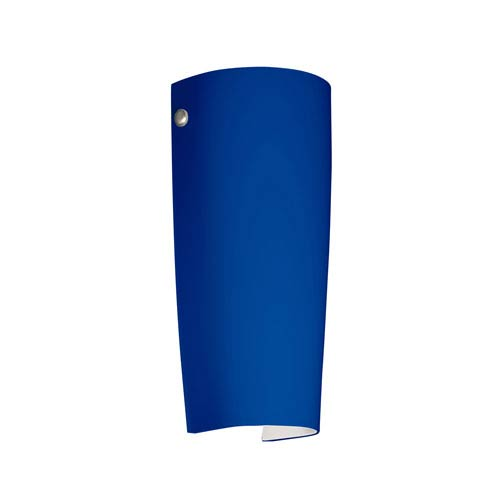 Tomas Satin Nickel One-Light LED Bath Sconce with Cobalt Blue Matte Glass
