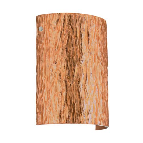 Tamburo 8 Satin Nickel One-Light LED Bath Sconce with Stone Copper Foil Glass