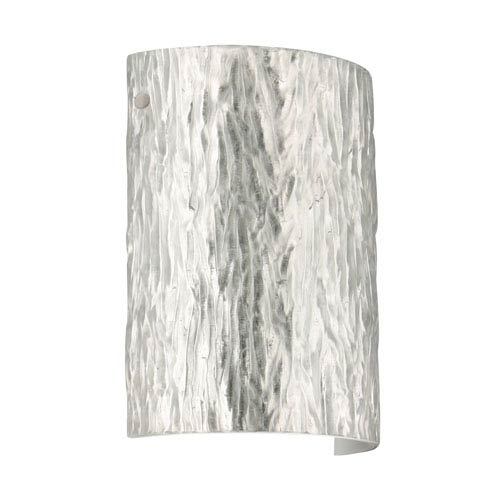 Tamburo 8 Satin Nickel One-Light LED Bath Sconce with Stone Silver Foil Glass