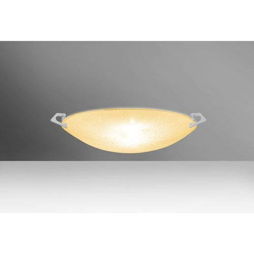 Sonya 13 Satin Nickel One-Light Flush Mount with Gold Glitter Glass