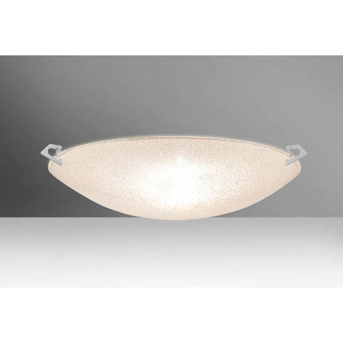 Sonya 20 Satin Nickel Three-Light LED Flush Mount with Glitter Glass