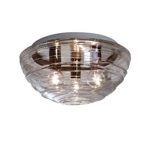 Besa Lighting Wave Aluminum Three-Light Incandescent 120v Flush Mount with Smoke Glass