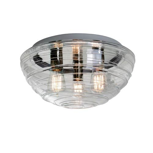 Wave 15 Aluminum Three-Light Incandescent 120v Flush Mount with Clear Glass