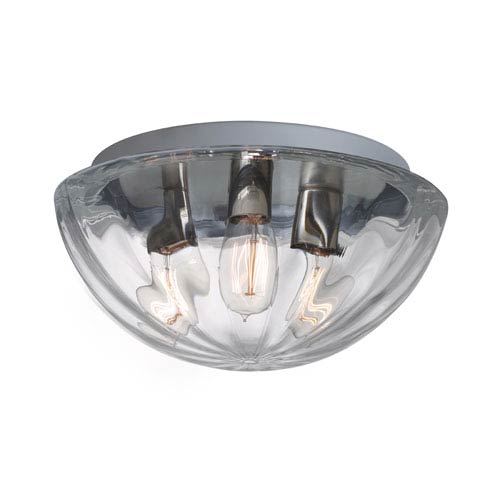 Besa Lighting Pinta 15 Aluminum Three-Light Incandescent 120v Flush Mount with Clear Glass