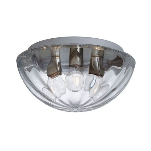 Pinta Aluminum Three-Light Incandescent 120v Flush Mount with Clear Glass