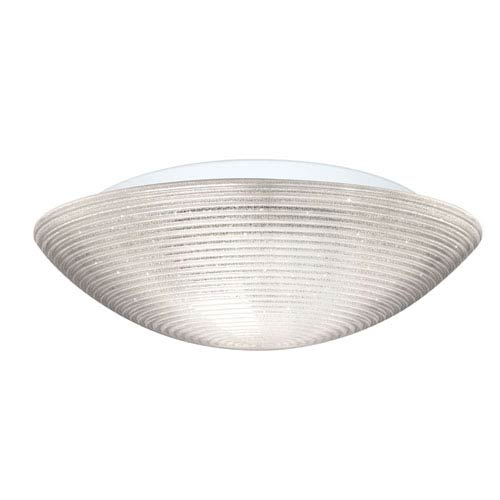 Glitter Aluminum Three-Light Incandescent 120v Flush Mount with Glitter Glass