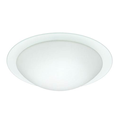 Besa Lighting Ring Aluminum Three-Light Incandescent 120v Flush Mount with White and Clear Glass