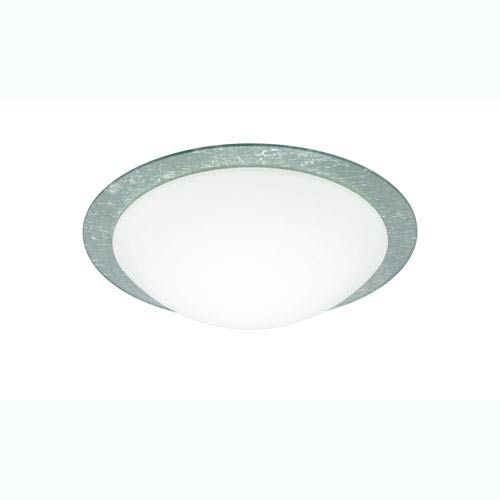 Besa Lighting Ring Silver One-Light Flush Mount with White/Silver Ring Glass
