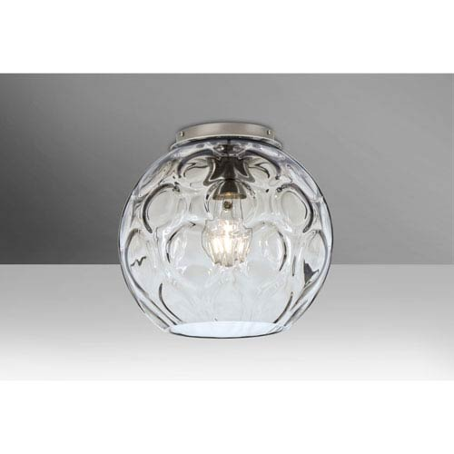 Bombay Satin Nickel One-Light Flush Mount with Clear Glass