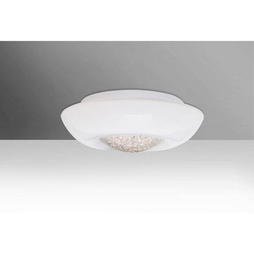 Gleem 12 Opal Glossy 12.One-Light LED Flush Mount with Clear Accent