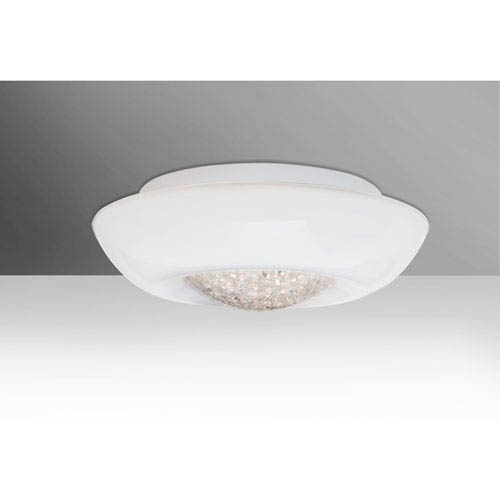 Gleem 16 Opal Glossy 1One-Light LED Flush Mount with Clear Accent