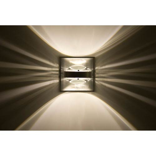 Besa Lighting Optos Brushed Aluminum One-Light LED Wall Sconce with Clear Lenses
