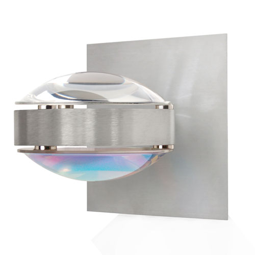 Besa Lighting Optos Brushed Aluminum One-Light Halogen Wall Sconce with Clear and Cool Dicro Glass