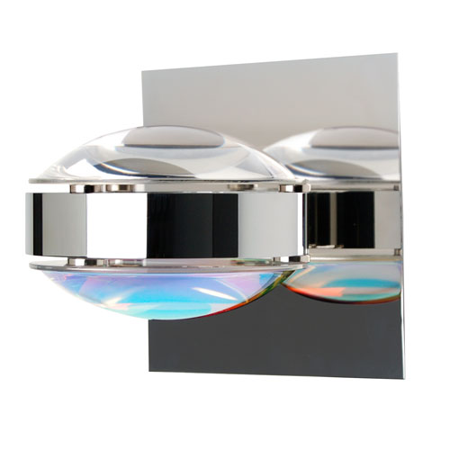 Besa Lighting Optos Chrome One-Light Halogen Wall Sconce with Clear and Cool Dicro Glass