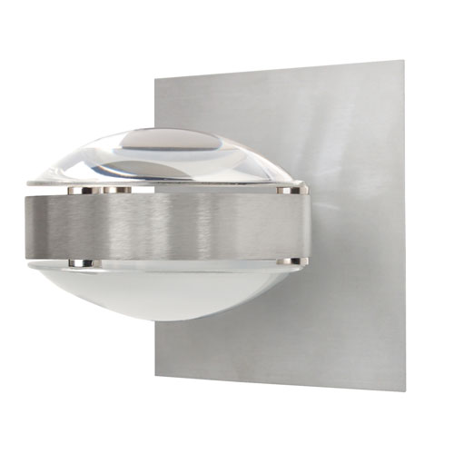 Besa Lighting Optos Brushed Aluminum One-Light Halogen Wall Sconce with Clear and Frost Glass