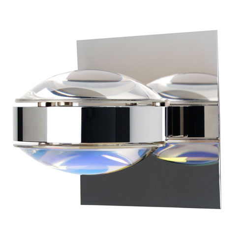 Besa Lighting Optos Chrome One-Light Halogen Wall Sconce with Clear and Warm Dicro Glass