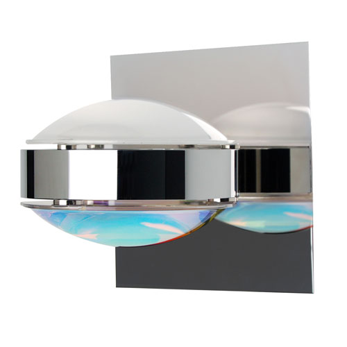 Besa Lighting Optos Chrome One-Light Halogen Wall Sconce with Frost and Cool Dicro Glass