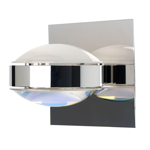 Besa Lighting Optos Chrome One-Light Halogen Wall Sconce with Frost and Warm Dicro Glass
