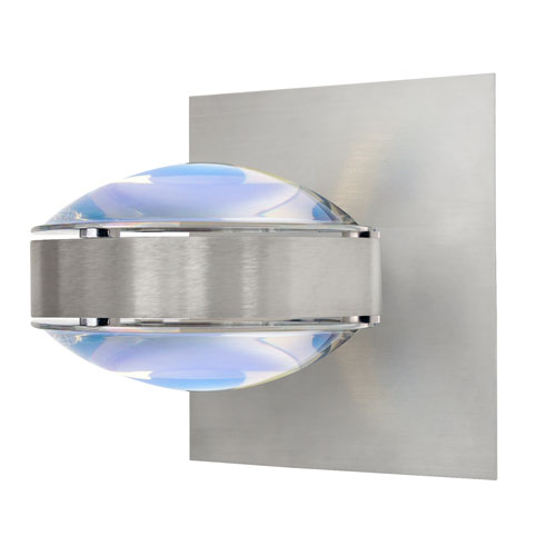 Besa Lighting Optos Brushed Aluminum One-Light Halogen Wall Sconce with Warm Dicro Glass