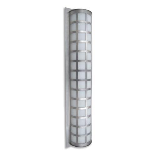 Besa Lighting Scala 40 Brushed Aluminum Three-Light Incandescent Wall Sconce with White Acrylic Shade