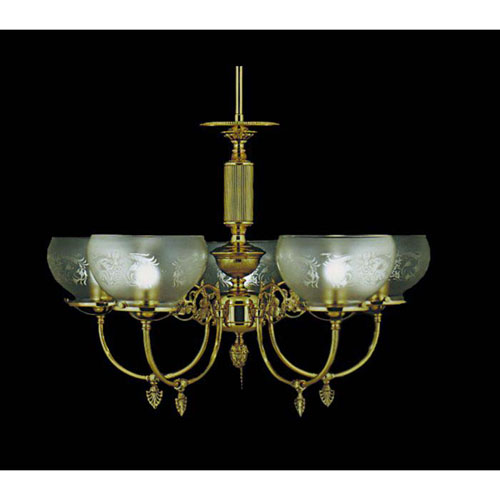 Chancery Polished Brass Five-Light Chandelier