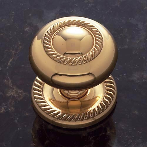 Solid Brass 1 1/2-Inch Rope Knob with Back Plate