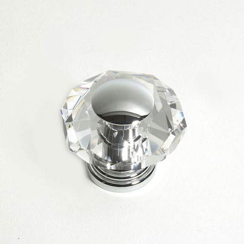 Pure Elegance Chrome Finish 2 -Inch Octogon Faceted w/Cap
