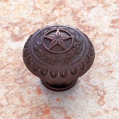 Old World Bronze 1 3/8-Inch Texas Star Knob