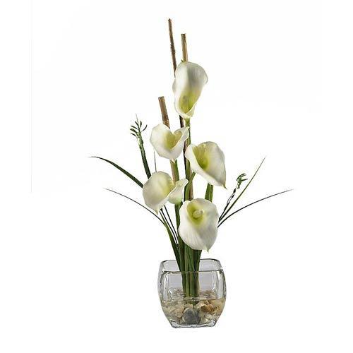 Cream Calla Lilly Liquid Illusion Silk Flower Arrangement