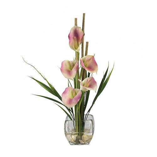 Nearly Natural Pink Calla Lilly Liquid Illusion Silk Flower Arrangement