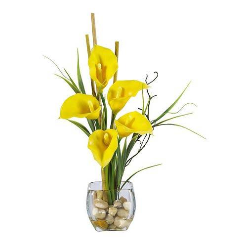 Yellow Calla Lilly Liquid Illusion Silk Flower Arrangement