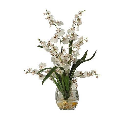 White Dancing Lady Orchid Liquid Illusion Silk Flower Arrangement