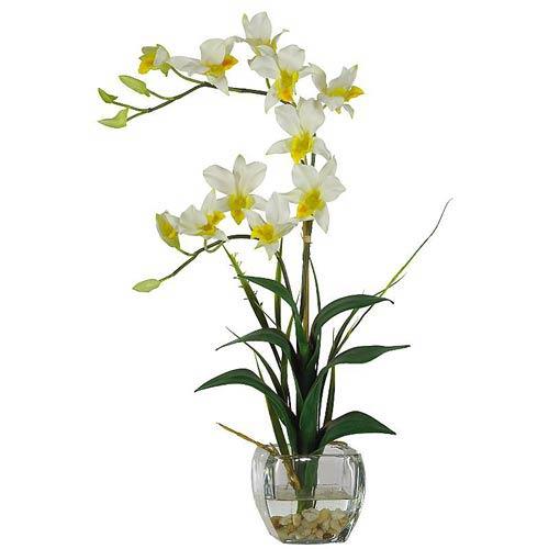 cream Dendrobium with Glass Vase Silk Flower Arrangement