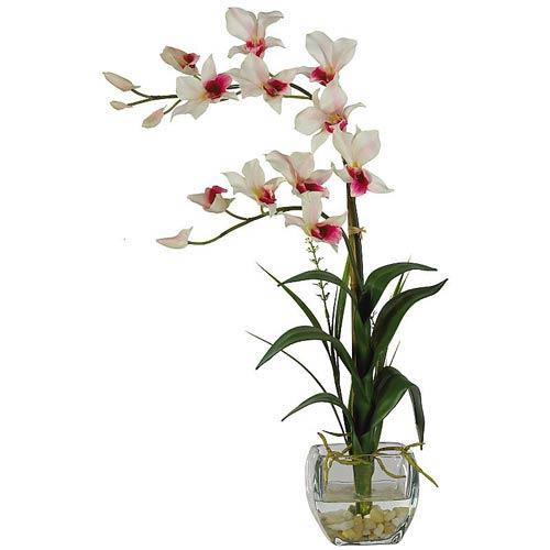 White Dendrobium with Glass Vase Silk Flower Arrangement