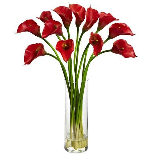 Red Mini Calla Lily Silk Flower Arrangement