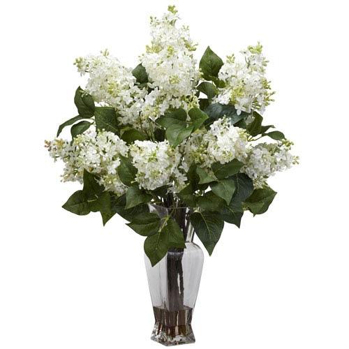 White Lilac Silk Flower Arrangement