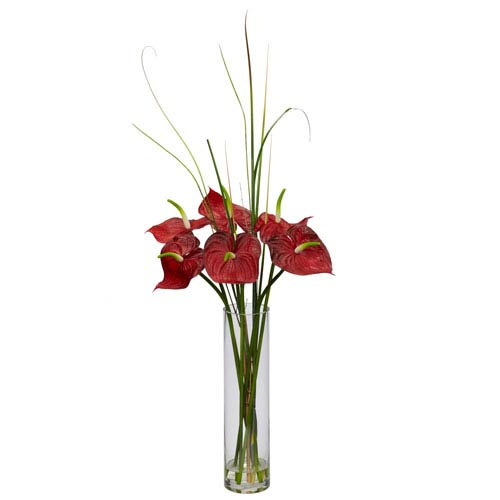 Nearly Natural Red Tropical Anthirum with Cylinder Arrangement