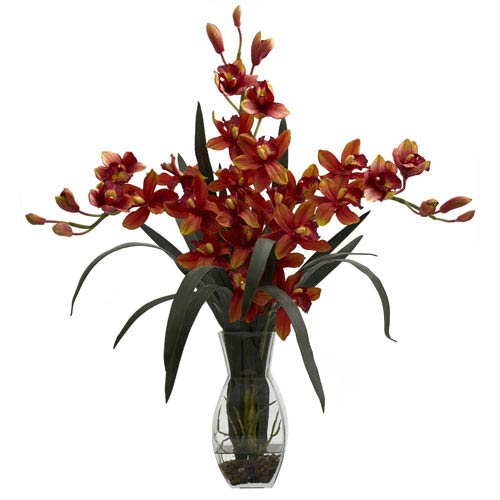 Burgundy Triple Cymbidium with Vase Arrangement
