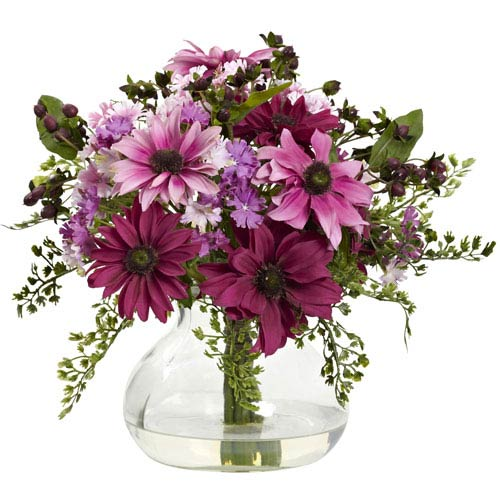 Pink Mixed Daisy Arrangement with Vase