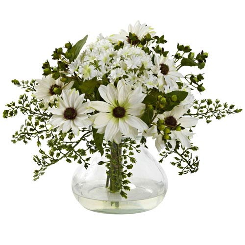 White Mixed Daisy Arrangement with Vase