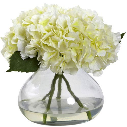 Nearly Natural Cream Large Blooming Hydrangea with Vase