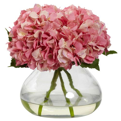 Pink Large Blooming Hydrangea with Vase