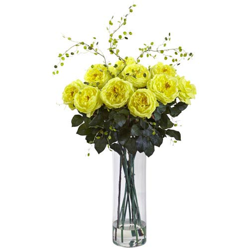 Yellow Giant Fancy Rose and Willow Arrangement