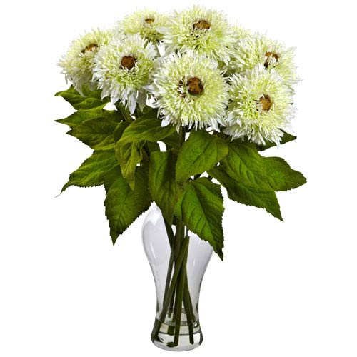 Nearly Natural White Sunflower Arrangement with Vase