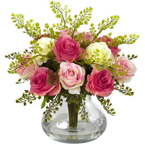 Multicolor Pastel Rose and Maiden Hair Arrangement with Vase