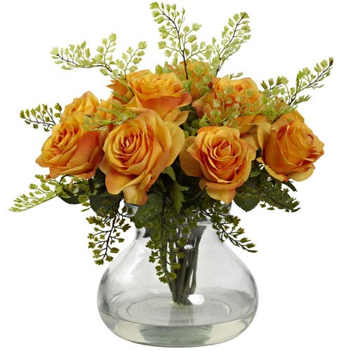 Orange Yellow Rose and Maiden Hair Arrangement with Vase