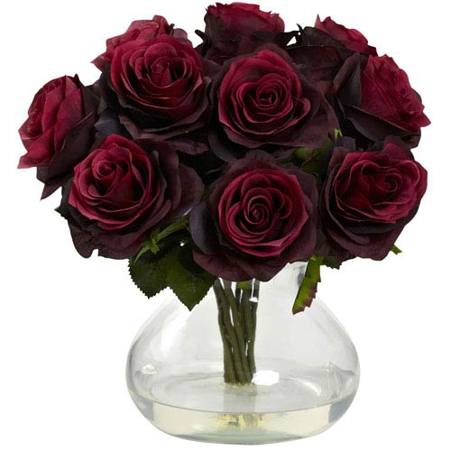 Nearly Natural Burgundy Rose Arrangement with Vase