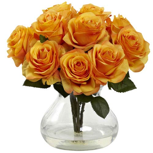 Nearly Natural Orange Yellow Rose Arrangement with Vase